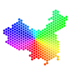 Spectrum hexagon china map vector