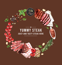 Steak wreath design with tomato grilled meat vector