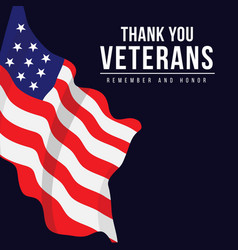 thank you veterans template design vector image