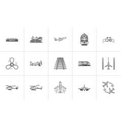 transport hand drawn outline doodle icon set vector image