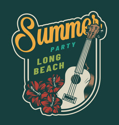 Vintage summer party colorful badge vector