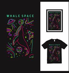 Whale space line art t shirt design vector