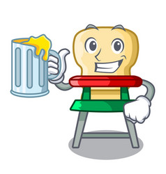 with juice cartoon baby sitting in the highchair vector image