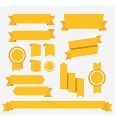 Yellow retro ribbons set Elements vector image