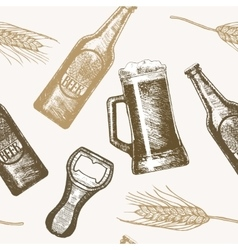 Beer Hand Draw Sketch Background Pattern vector image
