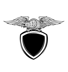 blank emblem template with eagle bird vector image