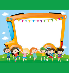Border template with children in the park vector