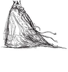 bridal dress drawing vector image vector image