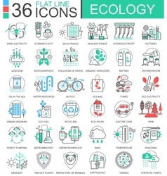 Ecology flat line outline icons for apps vector image vector image