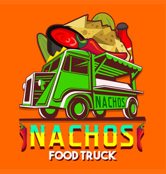 food truck mexican nachos chili pepper fast vector image vector image