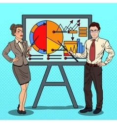 Pop Art Business People with Pointer Stick vector image vector image