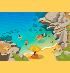 sea lagoon with a small beach and swimming people vector image