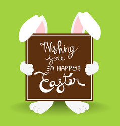 happy easter rabbit quote greeting card vector image vector image