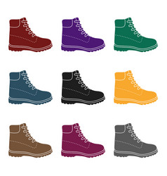 hiking boots icon in black style isolated on whit vector image