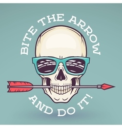 Hipster skull with geek sunglasses and arrow Bite vector image vector image