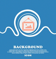 picture icon sign Blue and white abstract vector image