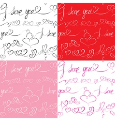 Set of Seamless patterns with hand drawn hearts vector image