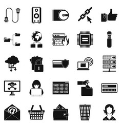 web project icons set simple style vector image vector image