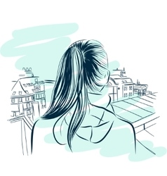 beautiful womans neck with city viev hand drawn vector image
