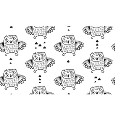 Black and white seamless pattern with owls vector image