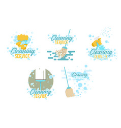cleaning service logos and symbols templates vector image
