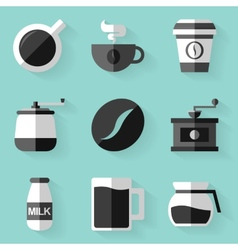 Flat icon set Coffee White style vector image vector image