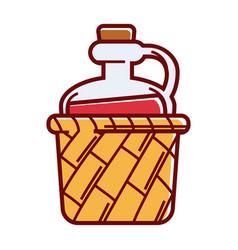 glass jug of wine with cork in wicker basket vector image