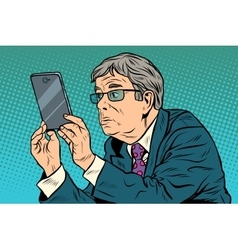 The funny man taking pictures with smartphone vector