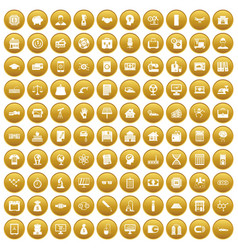 100 loans icons set gold vector