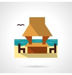Beach gazebo flat color design icon vector image