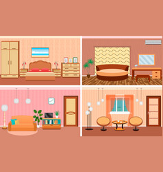 four living room interiors in one set bedroom and vector image vector image
