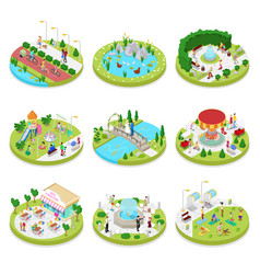 Isometric city park with walking people vector