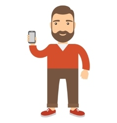 Man holds a cell phone vector image