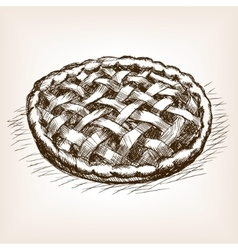 Pie hand drawn sketch style vector image