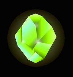 quartz crystal in green color isolated on black vector image