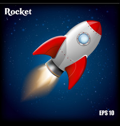 rocket ship with 3d flying vector image vector image