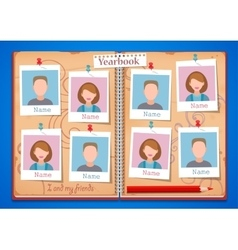 School album yearbook and open book vector