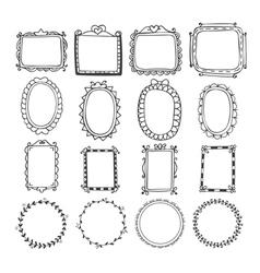 Vintage hand drawn frames in Doodle set of design vector image