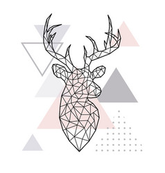 abstract geometric head of a forest deer vector image