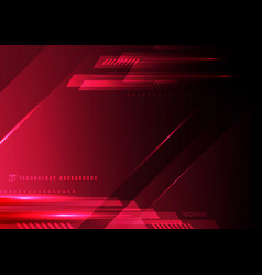 Abstract technology geometric red and black color vector