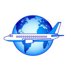 Aeroplane and globe vector