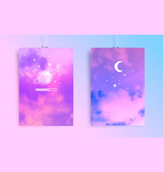 Aesthetic posters with sky and handdrawn doodles vector
