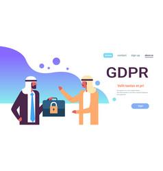 Arab businessmen hold case padlock security gdpr vector