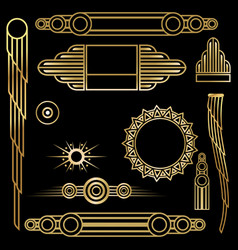 Art deco set of objects vector