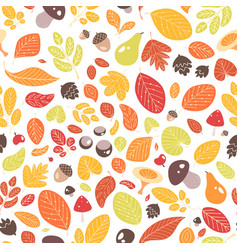 autumn seamless pattern with fallen leaves or vector image