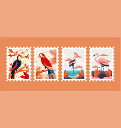 bird animal postage stamps vector image