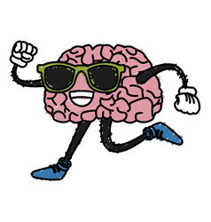 brain cartoon running vector image