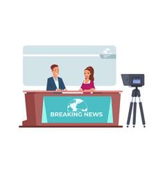Breaking news broadcasting tv information vector