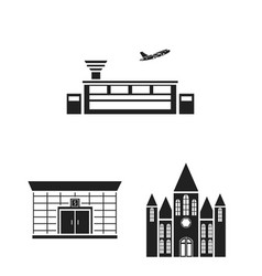 Building and architecture black icons in set vector