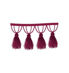 Burgundy braid with tassels vector